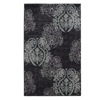 Linon Milan Collection Black/ Turquoise Transitional Floral Area Rug (8' x 10'3)