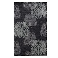 Linon Milan Collection Black/ Turquoise Transitional Floral Area Rug (8' x 10'3) - 8' x 10'3