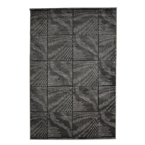 Linon Milan Collection Black/ Grey Abstract Area Rug (8' x 10'3) - 8' x 10'3