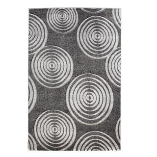 Linon Milan Collection Black/ Grey Circles Area Rug (8' x 10'3) - 8' x 10'3