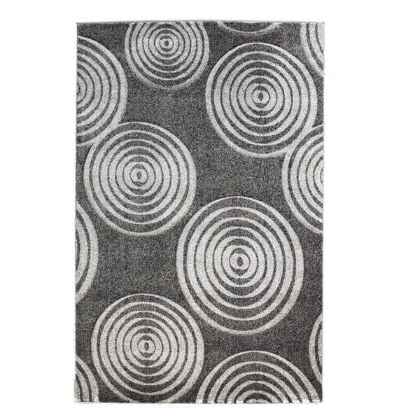 Linon Milan Collection Black/ Grey Circles Area Rug (8' x 10'3) - 8' x 10'3