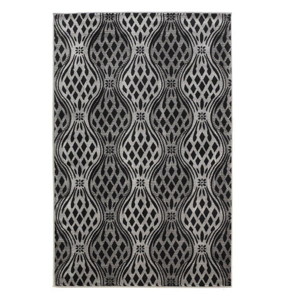 Linon Milan Collection Black/ Grey Area Rug (8' x 10'3) - 8' x 10'3