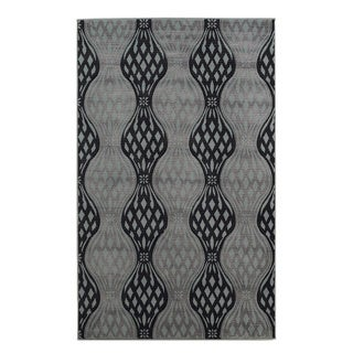 Linon Milan Collection Black/ Turquoise Abstract Area Rug (8' x 10'3)