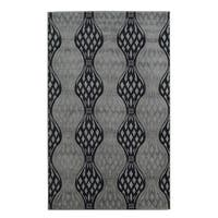 Linon Milan Collection Black/ Turquoise Abstract Area Rug (8' x 10'3) - 8' x 10'3