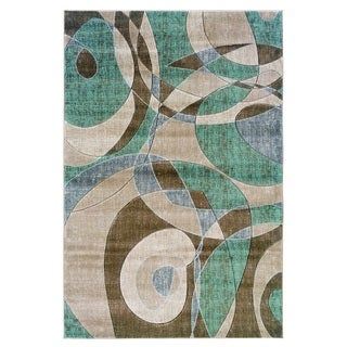 Linon Milan Collection Brown/ Turquoise Geometric Area Rug