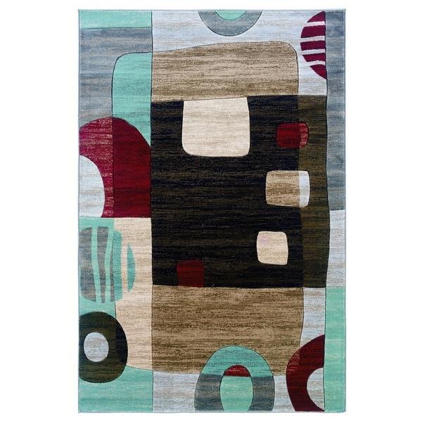 Linon Milan Collection Black/ Garnet Area Rug (8' x 10'3)