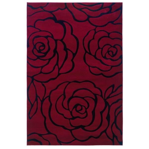 Linon Milan Collection Garnet/ Black Area Rug (8' x 10'3) - 8' x 10'3