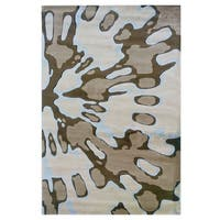 Linon Milan Collection Ivory/ Brown Area Rug (8' x 10'3) - 8' x 10'3