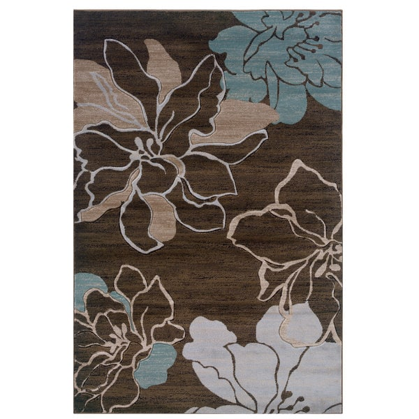 Linon Milan Collection Brown/ Turquoise Area Rug - 8' x 10'3