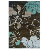Linon Milan Collection Ivory/ Turquoise Area Rug (8' x 10'3) - 8' x 10'3