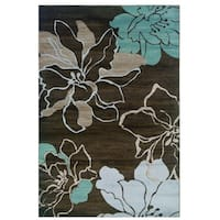 Linon Milan Collection Ivory/ Turquoise Area Rug - 8' x 10'3