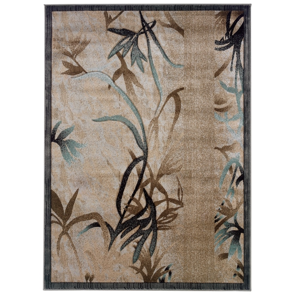 Linon Milan Collection Beige/ Aqua Area Rug (5' x 7'7) - 5' x 7'7""