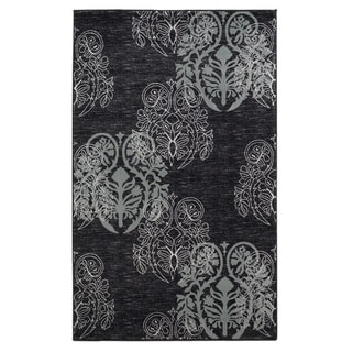 Linon Milan Collection Black/ Turquoise Floral Area Rug (5' x 7'7)