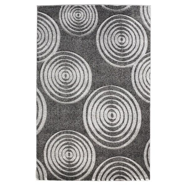 Linon Milan Collection Black/ Grey Circles Area Rug (5' x 7'7) - 5' x 7'7