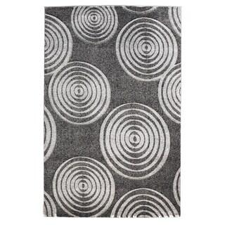 Linon Milan Collection Black/ Grey Circles Area Rug (5' x 7'7)