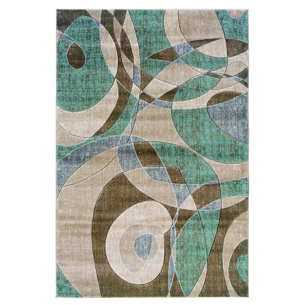 Linon Milan Collection Brown/ Turquoise Geometric Area Rug (5' x 7'7) - 5' x 7'7