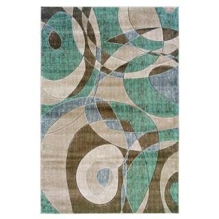 Linon Milan Collection Brown/ Turquoise Geometric Area Rug (5' x 7'7)