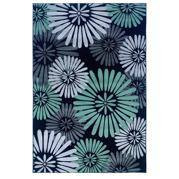 Linon Milan Collection Black/ Turquoise Abstract Flower Area Rug (5' x 7'7) - 5' x 7'7