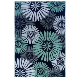 Linon Milan Collection Black/ Turquoise Abstract Flower Area Rug (5' x 7'7)