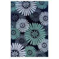 Linon Milan Collection Black/ Turquoise Abstract Flower Area Rug - 5' x 7'7