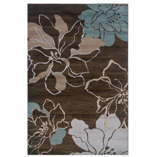 Linon Milan Collection Brown/ Turquoise Floral Area Rug (5' x 7'7)