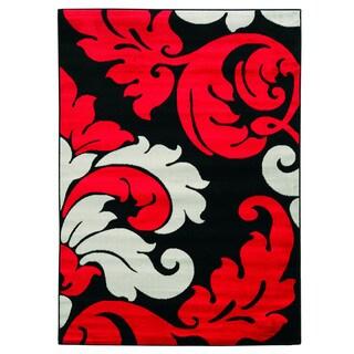 "Linon Elegance Black/ Red Area Rug (5' x 7'3) - 5' x 7'3"""