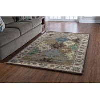 Linon Soumak Collection Brown and Ivory Rug (5' x 8') - 5' x 8'