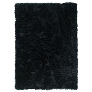Linon Black Faux Sheepskin Rug (1'8 x 2'6)