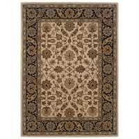 Linon Trio Traditional Ivory/ Black Area Rug (5' x 7') - 5' x 7'