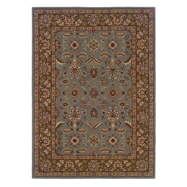 Shop Linon Trio Traditional Light Blue Brown Area Rug 5 X 7 5