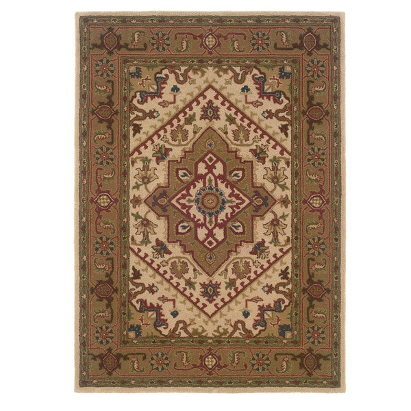 Linon Trio Traditional Ivory/ Gold Area Rug (5' x 7') - 5' x 7'