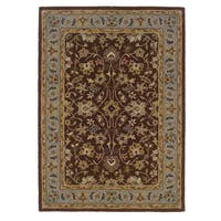Linon Trio Traditional Brown/ Light Blue Area Rug (5' x 7')