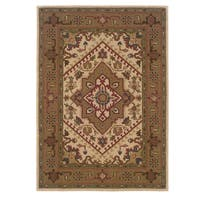 Linon Trio Traditional Ivory/ Gold Area Rug (8' x 10') - 8' x 10'