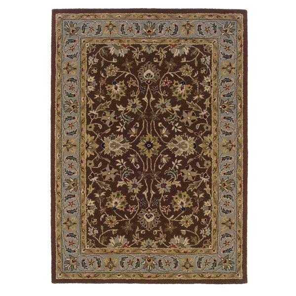 Linon Trio Traditional Brown/ Light Blue Area Rug (8' x 10') - 8' x 10'/3'10 x 5'7