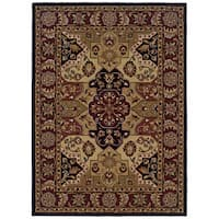 Linon Trio Traditional Burgundy/ Black Area Rug (1'10 x 2'10)