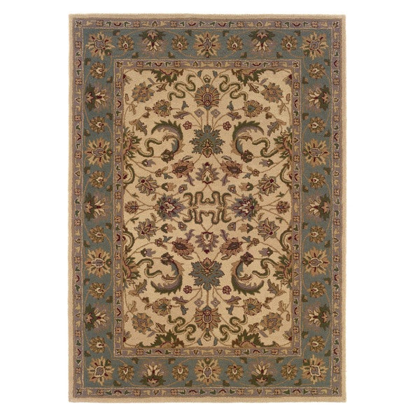 Linon Trio Traditional Cream/ Light Blue Area Rug (8' x 10')