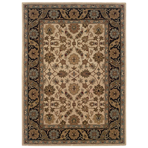 Linon Trio Traditional Ivory/ Black Area Rug (8' x 10') - 8' x 10'