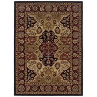 Linon Trio Traditional Burgundy/ Black Area Rug (8' x 10') - 8' x 10'