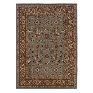 Linon Trio Traditional Light Blue/ Brown Area Rug (8' x 10')