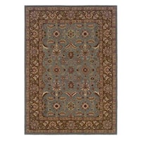 Linon Trio Traditional Light Blue/ Brown Area Rug (8' x 10') - 8' x 10'