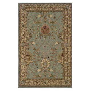 Linon Soumak Collection Ice Blue and Pale Gold Rug (9' x 12')