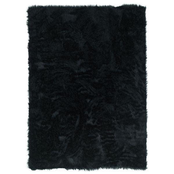 Linon Black Faux Sheepskin Rug (5u0026#x27; ...