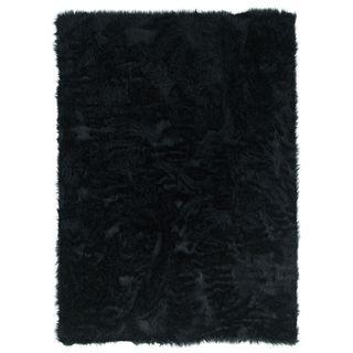 Linon Black Faux Sheepskin Rug (5' x 7') - 5' x 7'