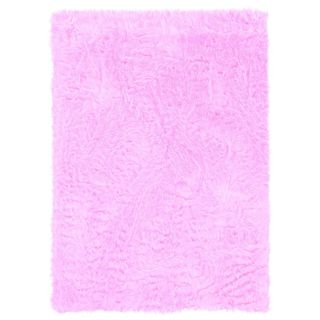 Linon Pink and Pink Faux Sheepskin Rug (5' x 7')