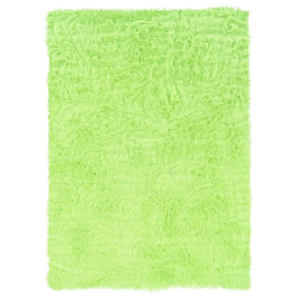 Linon Green and Green Faux Sheepskin Rug (5' x 7')