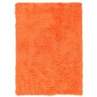 Linon Orange and Orange Faux Sheepskin Rug (5' x 7') - 5' x 7'