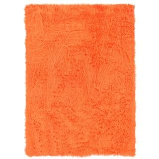Linon Orange And Faux Sheepskin Rug 5 X 7