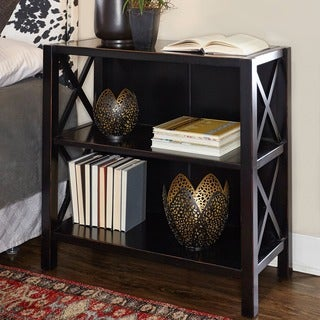 Linon Elsa Bookcase with 3 Shelves, Ebony with Rub Thru