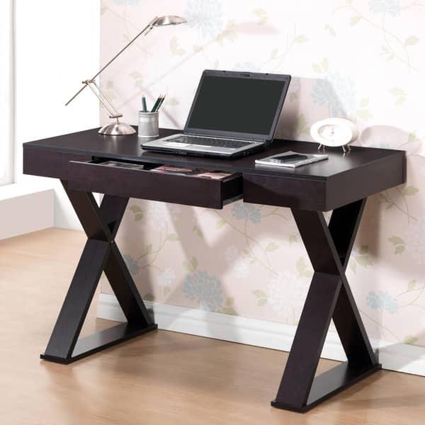 Modern Designs Home Office Espresso X Leg Laptop Computer Desk