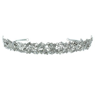 Kate Marie 'Olivia' Silvertone Rhinestone Crown Tiara with Hair Combs